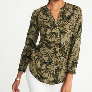 Tropical Palm Leaf Plant Long Sleeved Green Tunic